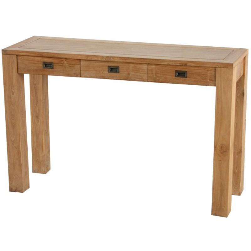 console 3 tiroirs teck en teck naturel pas cher en vente. Black Bedroom Furniture Sets. Home Design Ideas