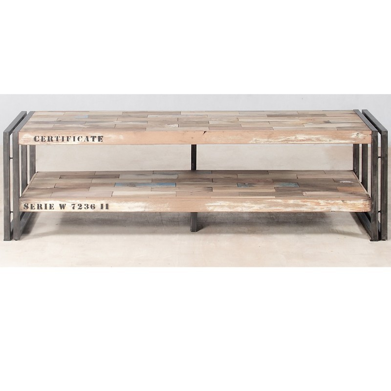banc tv fer d poli et lattes de bois de bateau recycl pas. Black Bedroom Furniture Sets. Home Design Ideas