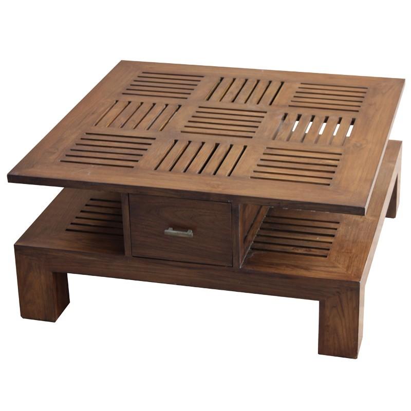 Superbe table basse carr e en teck massif pas ch re de - Table basse carree teck ...