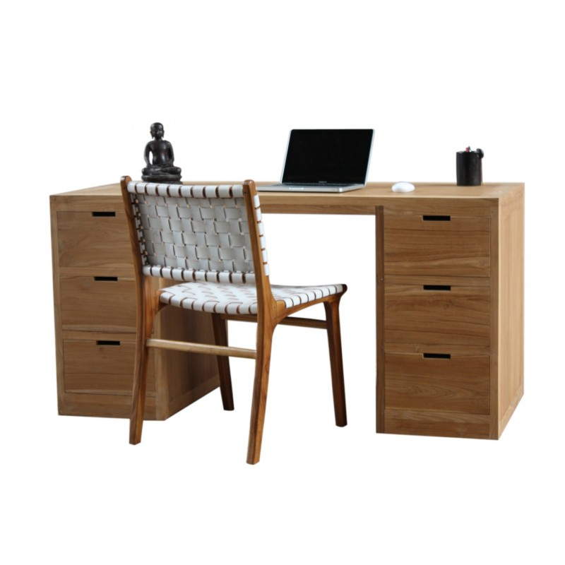 bureau design en teck 6 tiroirs city livraiosn et retour. Black Bedroom Furniture Sets. Home Design Ideas