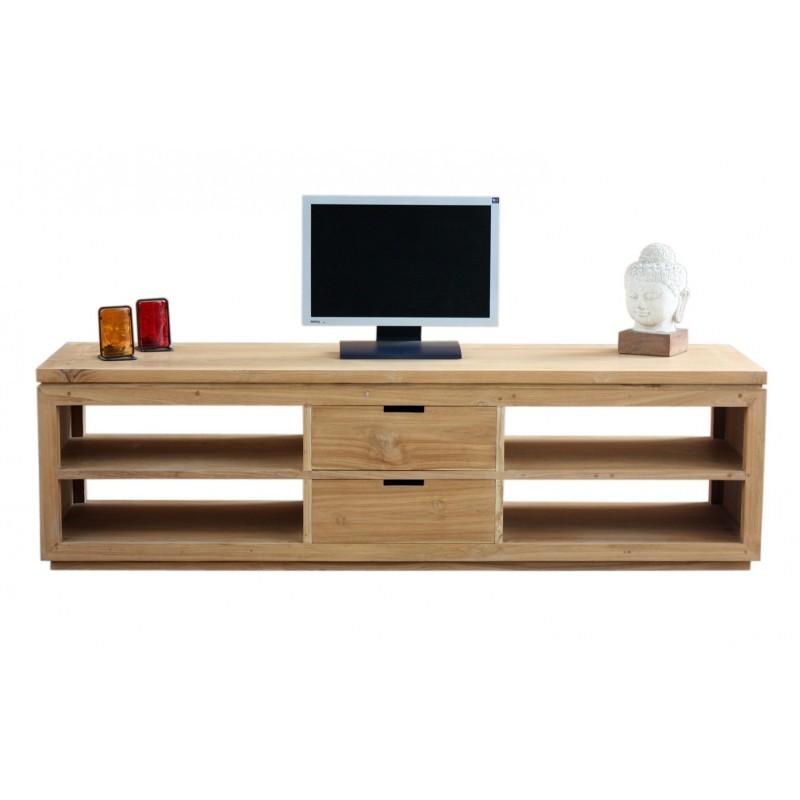 meuble tv teck lugano - Meuble Tv Bas Teck