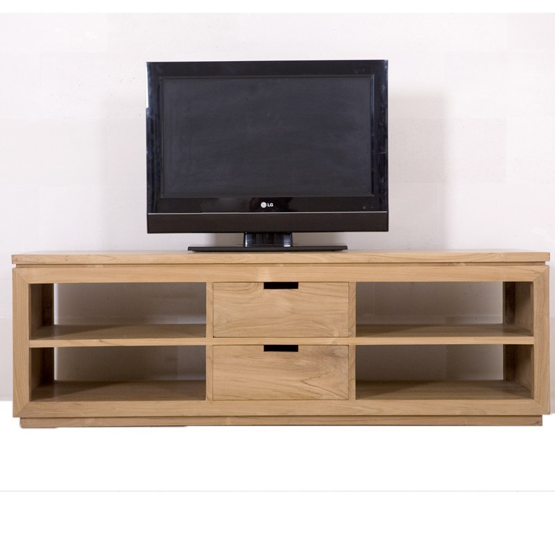 meuble tv en teck city pas cher aux lignes contemporaines pur es. Black Bedroom Furniture Sets. Home Design Ideas
