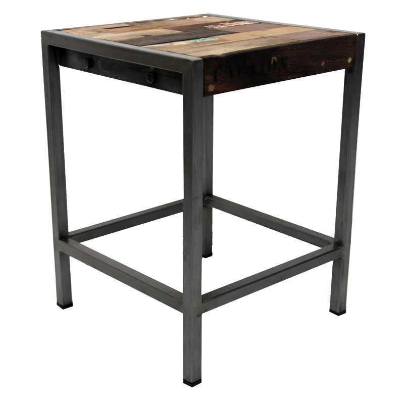 tabouret basfer et bois de bateau recycl chez origins maison. Black Bedroom Furniture Sets. Home Design Ideas