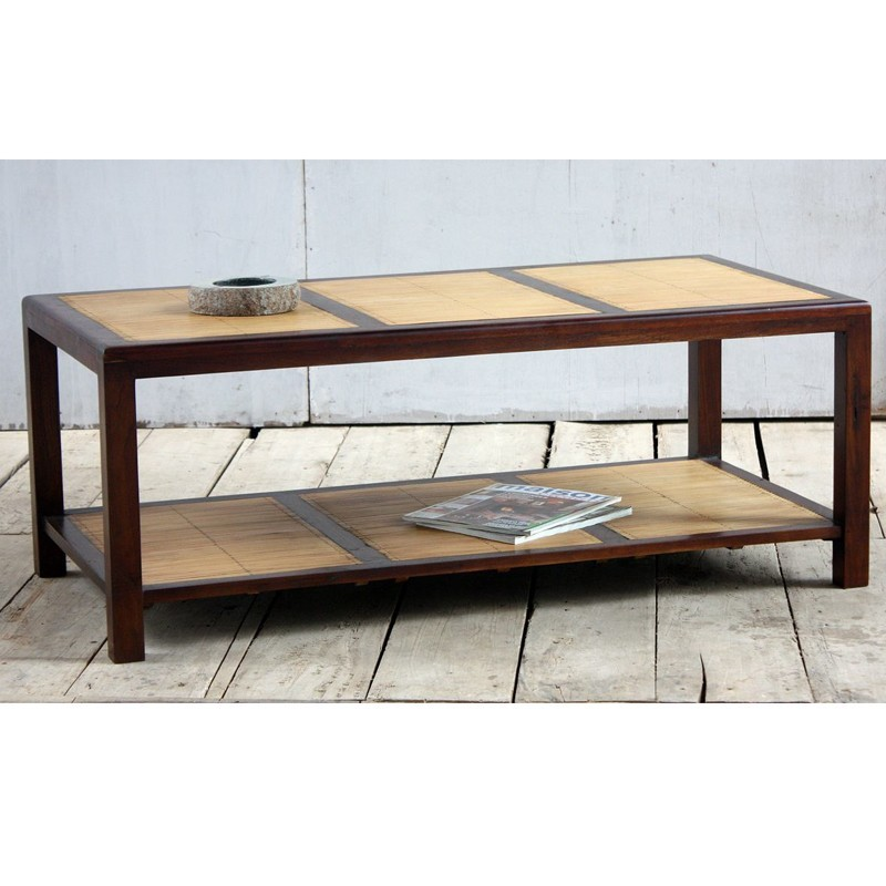 Table basse teck bambou for Table en teck pas cher