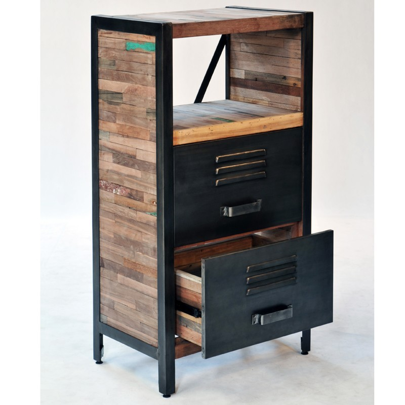meuble d 39 appoint 2 tiroirs industriel fer d poli et lattes. Black Bedroom Furniture Sets. Home Design Ideas