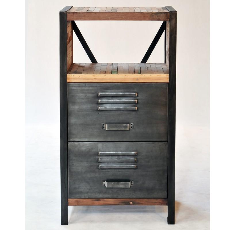 meuble d 39 appoint 2 tiroirs industriel fer d poli et lattes de bois de bateau recycl pas cher en. Black Bedroom Furniture Sets. Home Design Ideas