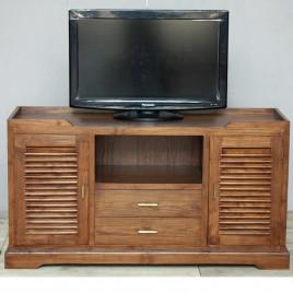 Meuble TV en teck Krepiak 2 portes 2 tiroirs