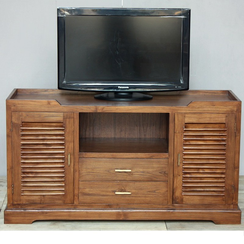 meuble tv en teck krepiak colonial pas cher de chez origin 39 s meubles. Black Bedroom Furniture Sets. Home Design Ideas
