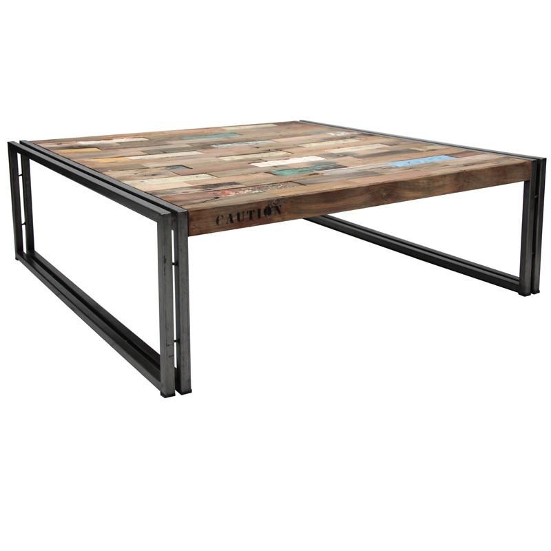 Table basse carr e factory en fer d poli et lattes de bois - Table basse en fer et bois ...