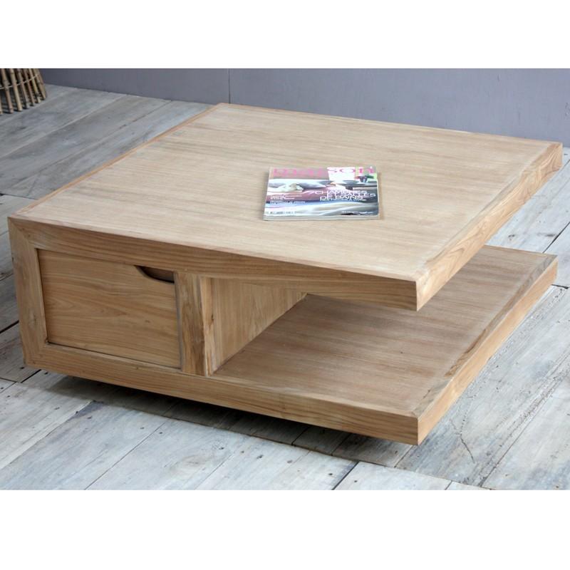 table de salon en teck carr e pas cher en vente chez. Black Bedroom Furniture Sets. Home Design Ideas