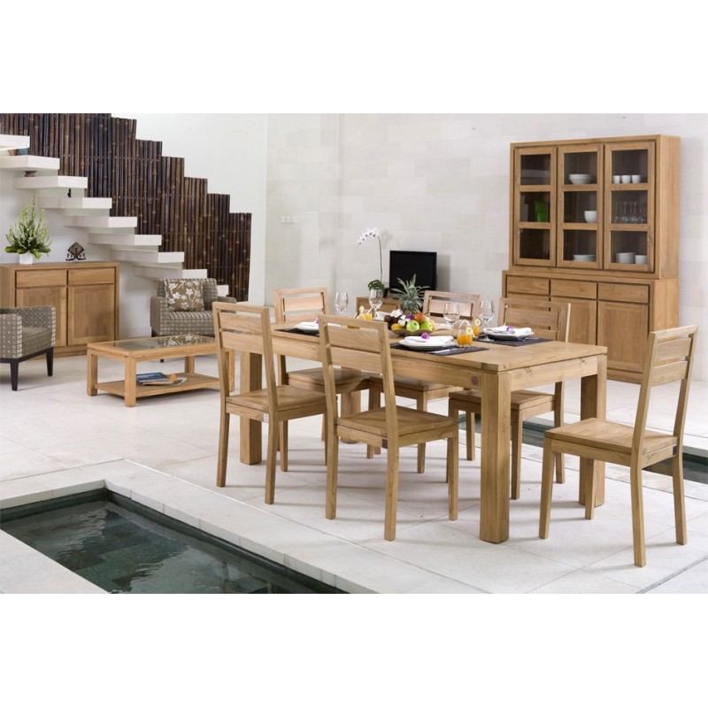 Table repas extensible en teck ankor for Table salle a manger contemporaine extensible