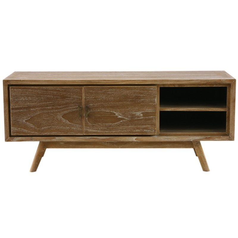 original meuble tv fiftees en teck bross blanchi. Black Bedroom Furniture Sets. Home Design Ideas