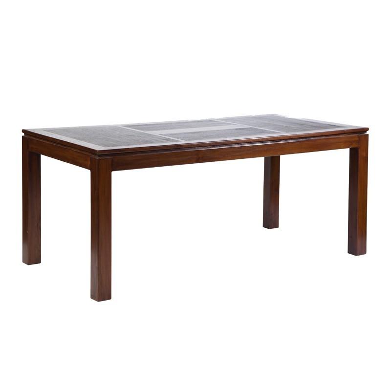 Magnifique table repas halong en teck bicolore for Table bois bicolore