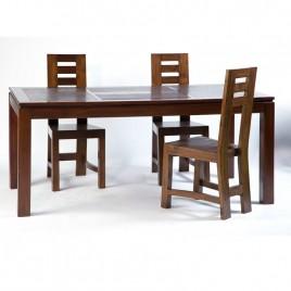 Table repas Halong  en teck bicolore