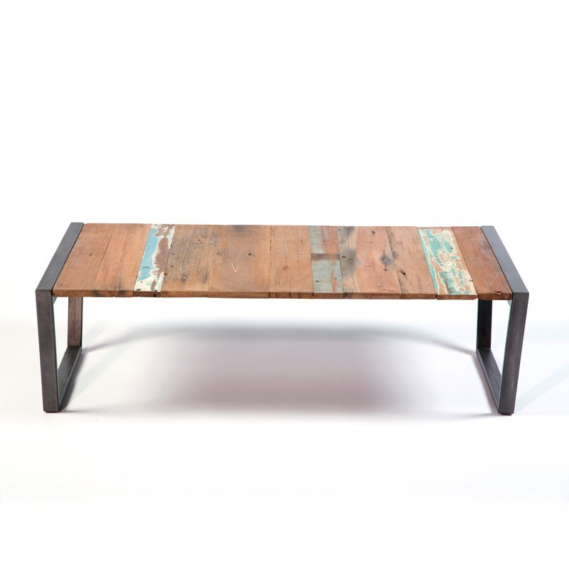 superbe table basse industrielle wings en fer en bois de bateau recycl. Black Bedroom Furniture Sets. Home Design Ideas