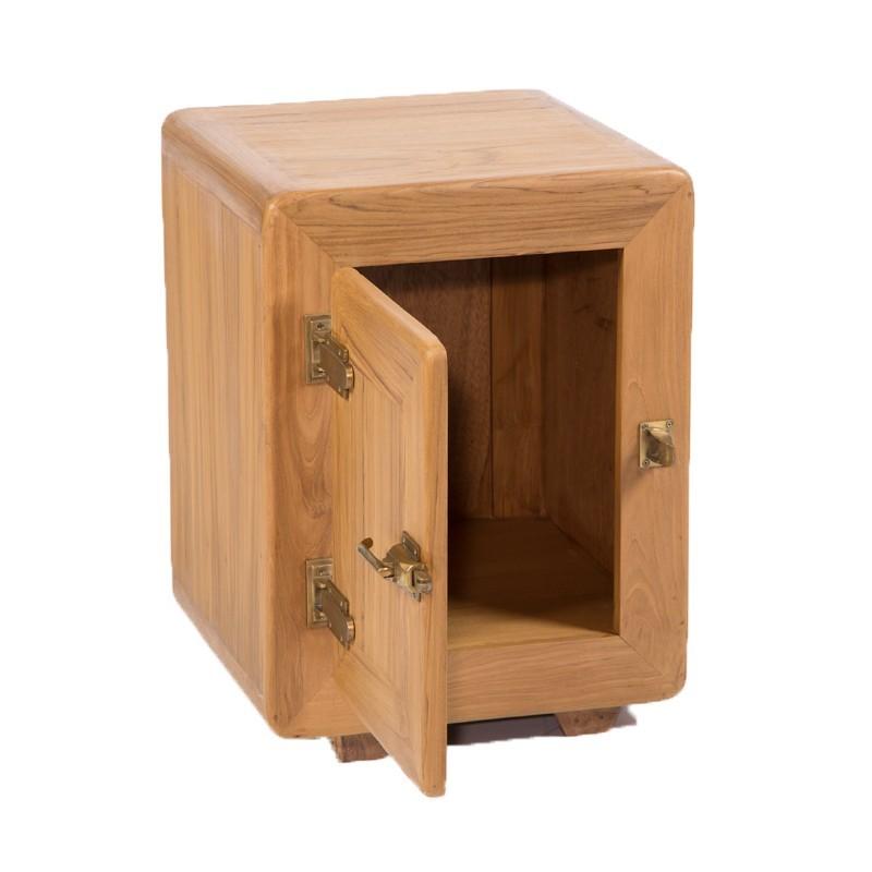 bout de canap 1 porte en teck naturel pas cher en vente. Black Bedroom Furniture Sets. Home Design Ideas