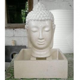 Fontaine tête Bouddha blanche