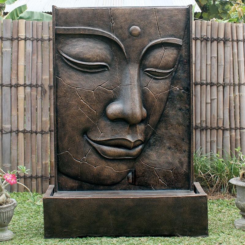 Magnifique Fontaine Face de bouddha craquelée