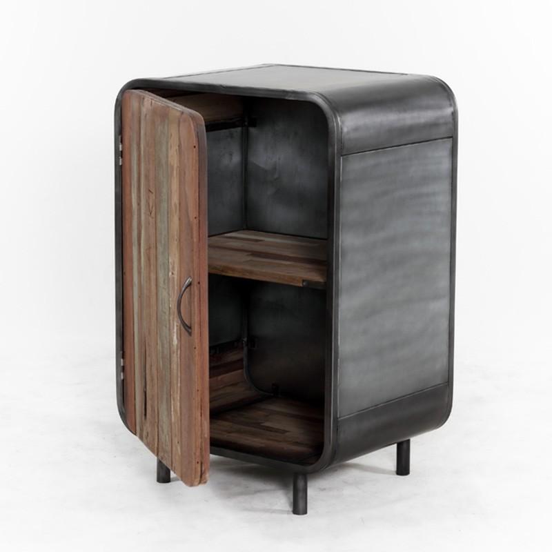 Buffet industriel vintage 1 portes en fer d poli et planches de bois de batea - Buffet haut pas cher ...