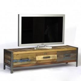 Meuble TV Industriel 3 tioirs bois de bateau recycle