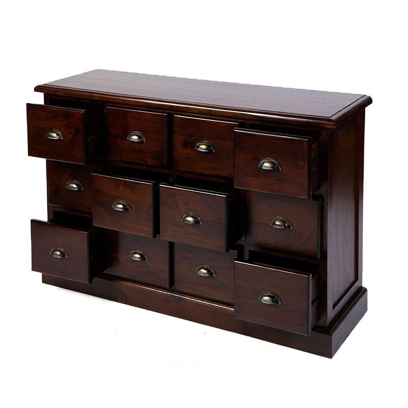 originale commode 12 tiroirs en teck. Black Bedroom Furniture Sets. Home Design Ideas