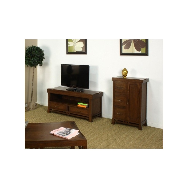 Meuble tv 2 tiroirs japan en teck origin 39 s meubles for Meuble coloniaux