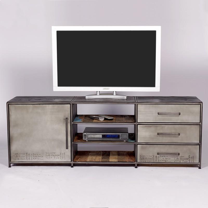 Superbe meuble tv industriel kl o r alis en bidons et for Meuble tv opium