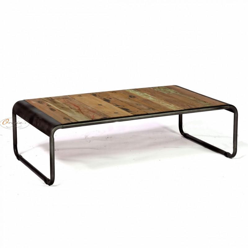 Table Basse Rectangulaire R Tro Fer D Poli Et Planches De Bois De Bateau Recycl Pas Cher En