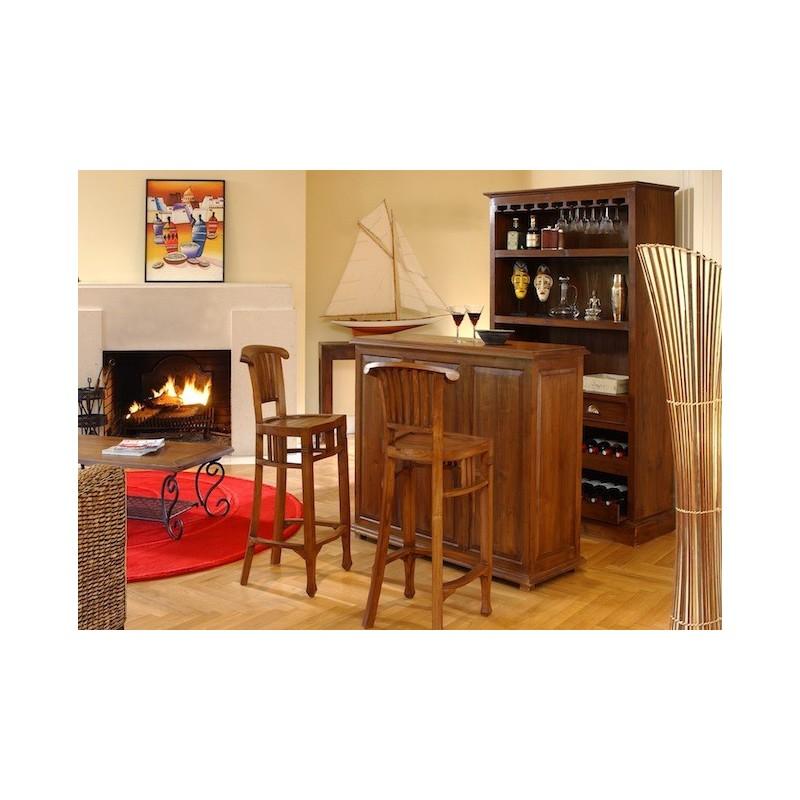 Comptoir bar en teck pas cher origin 39 s meubles for Meuble bar contemporain