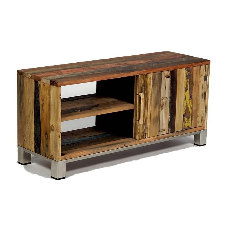 Meuble TV industriel Atlantique en bois de bateau recyclé -> Meuble Industriel Bois Bateau