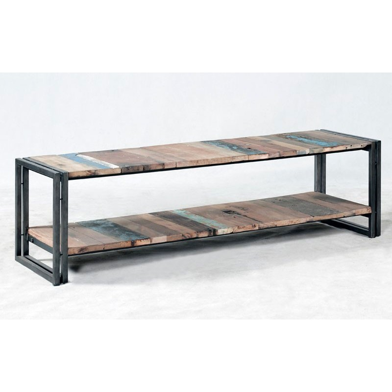 superbe banc tv industriel urban fer et planche de bois de bateau. Black Bedroom Furniture Sets. Home Design Ideas
