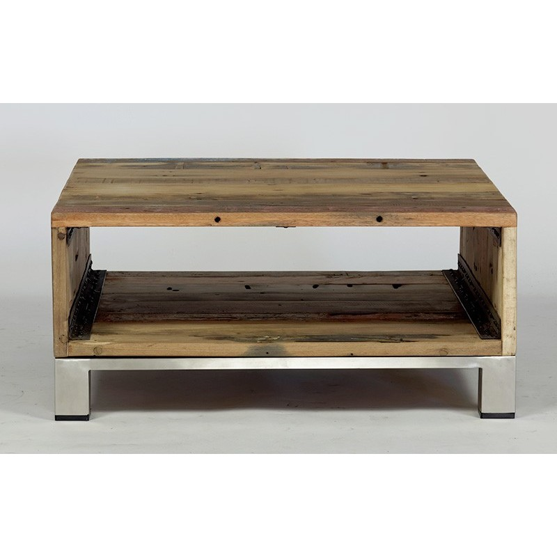 Table basse bois bateau recycle - Table basse carree industrielle ...