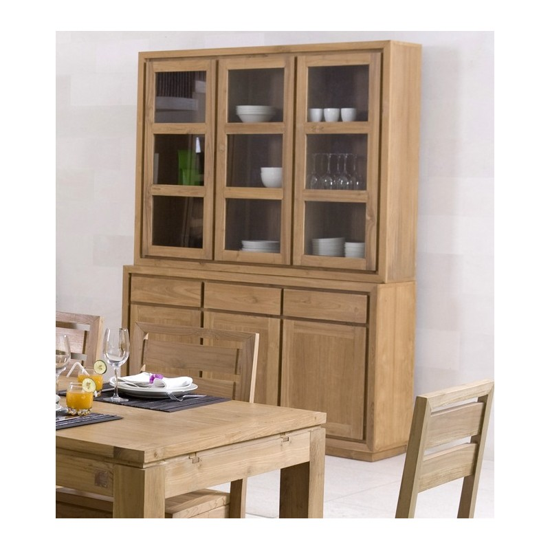 buffet vaisselier teck 6 portes origin 39 s vente. Black Bedroom Furniture Sets. Home Design Ideas