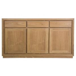 Buffet enfilade en teck naturel 3 portes 3 tiroirs