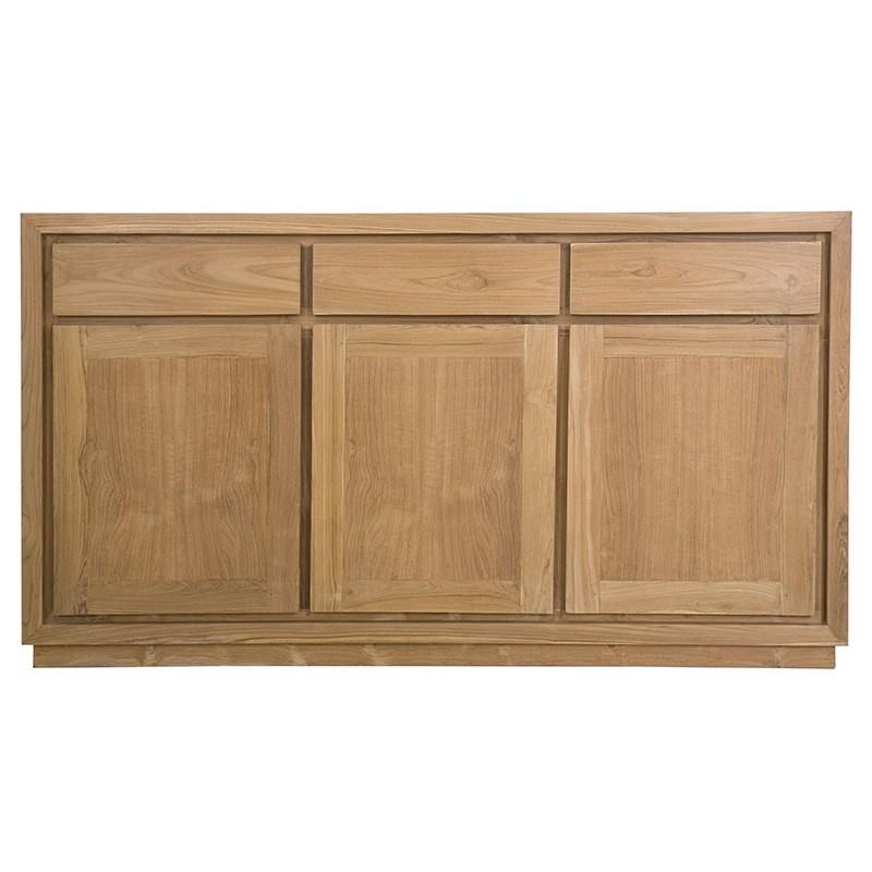 buffet enfilade teck naturel 3 portes 3 tirois pas cher. Black Bedroom Furniture Sets. Home Design Ideas