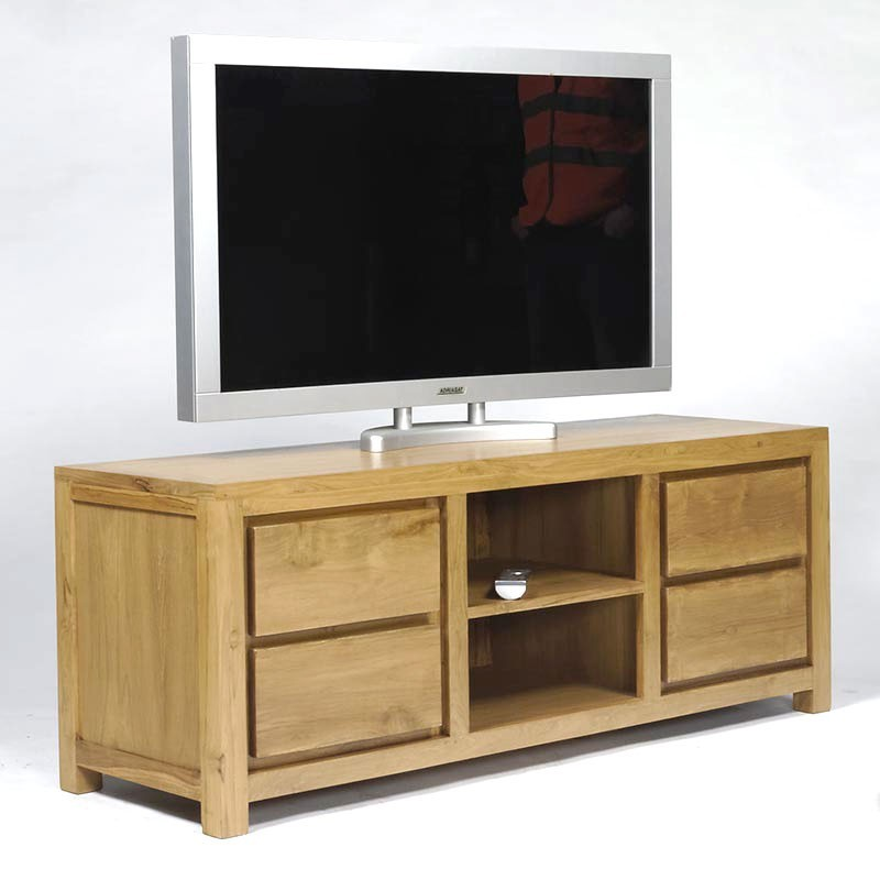 Meuble tv contemporain en teck livraison gratuite for Meuble tv a tiroirs