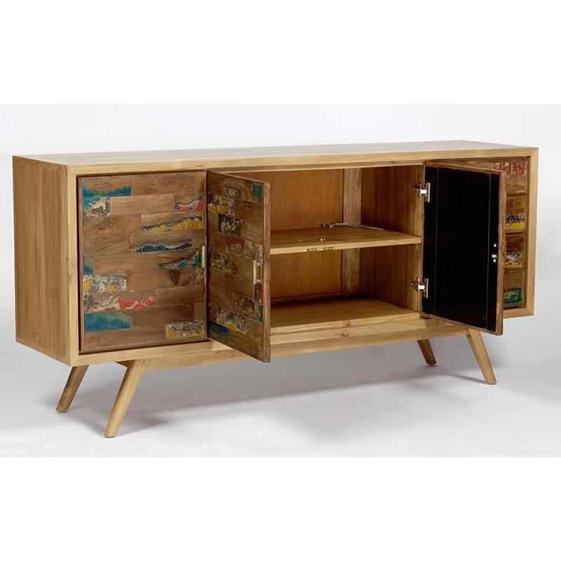 grand buffet scandinave en teck et bois de bateau pas cher. Black Bedroom Furniture Sets. Home Design Ideas