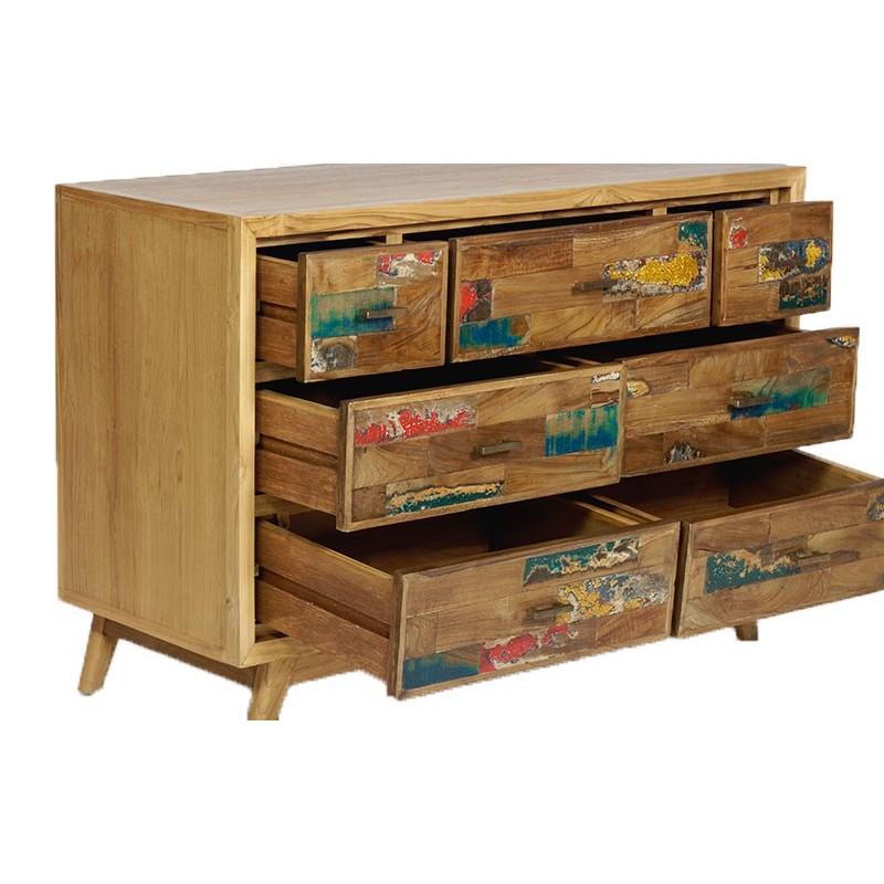 commode 7 tiroirs fancy en teck et bois de bateau pas cher. Black Bedroom Furniture Sets. Home Design Ideas