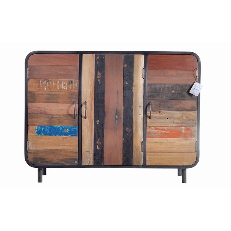 Buffet 3 portes industriel vintage fer et bois de bateau recycl - Buffet en fer industriel ...