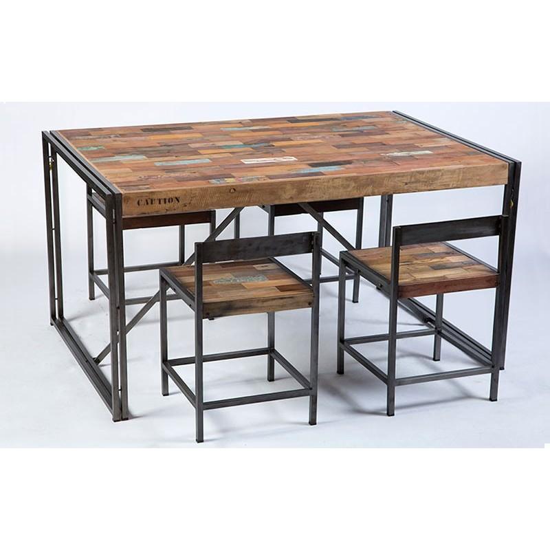 table repas rectangulaire fer d poli et lattes de bois de bateau recycl pas cher en vente chez. Black Bedroom Furniture Sets. Home Design Ideas