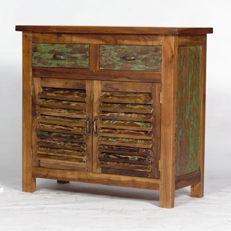 buffet en bois recycl color 2 portes 2 tiroirs. Black Bedroom Furniture Sets. Home Design Ideas