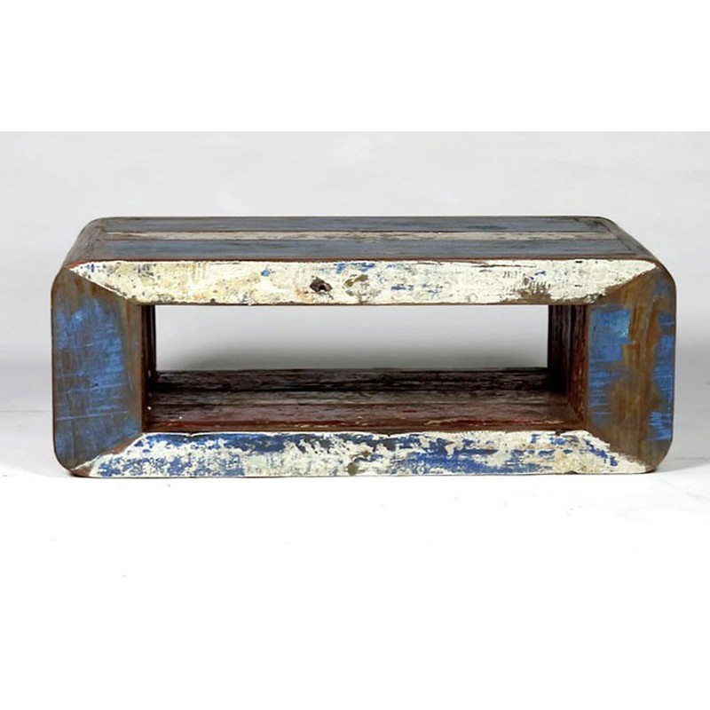 table basse vintage bois de bateau recycl pas cher en. Black Bedroom Furniture Sets. Home Design Ideas