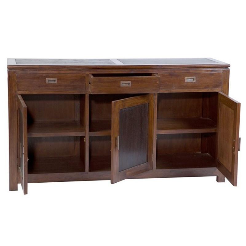superbe buffet halong 3 portes 3 tiroirs en teck bicolore. Black Bedroom Furniture Sets. Home Design Ideas