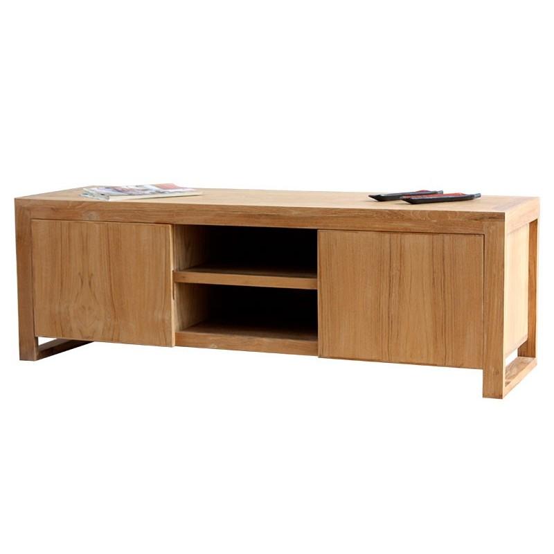 Meuble tv en bois de teck goa mobilier contemporain en bois - Meuble tv en teck ...