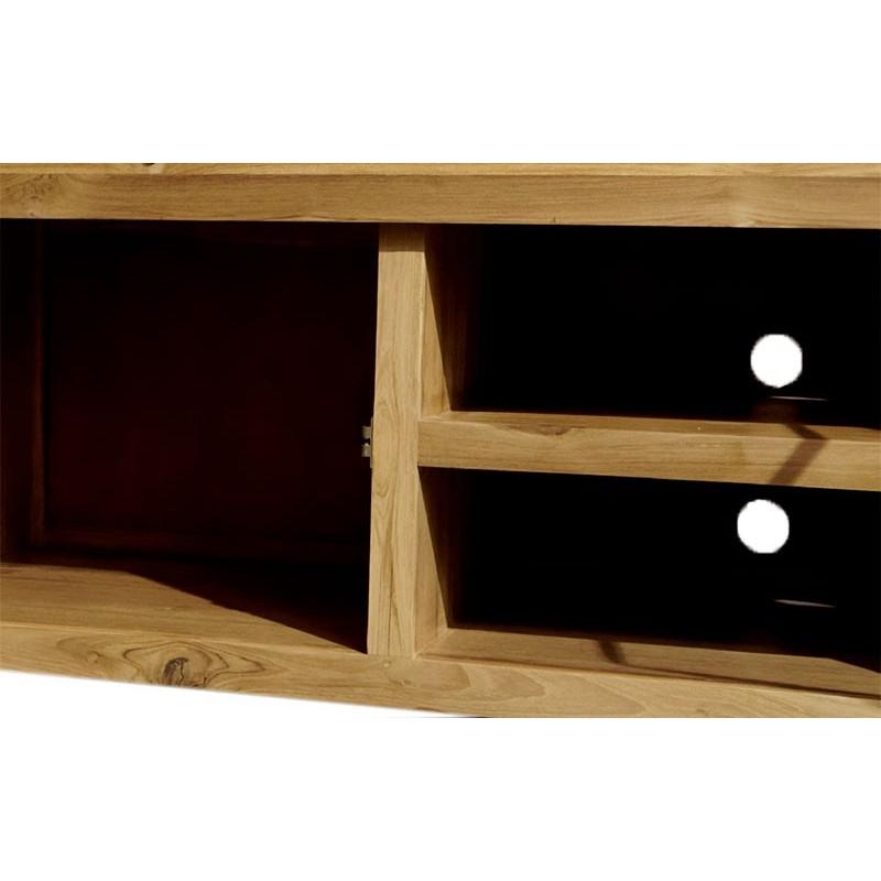 Meuble tv en bois de teck goa mobilier contemporain en bois for Meuble tv opium