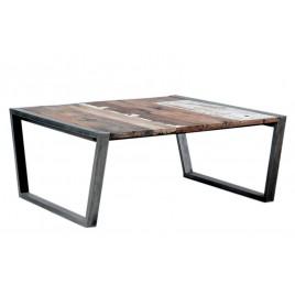 Table basse carrée Wings métal et bois de bateau
