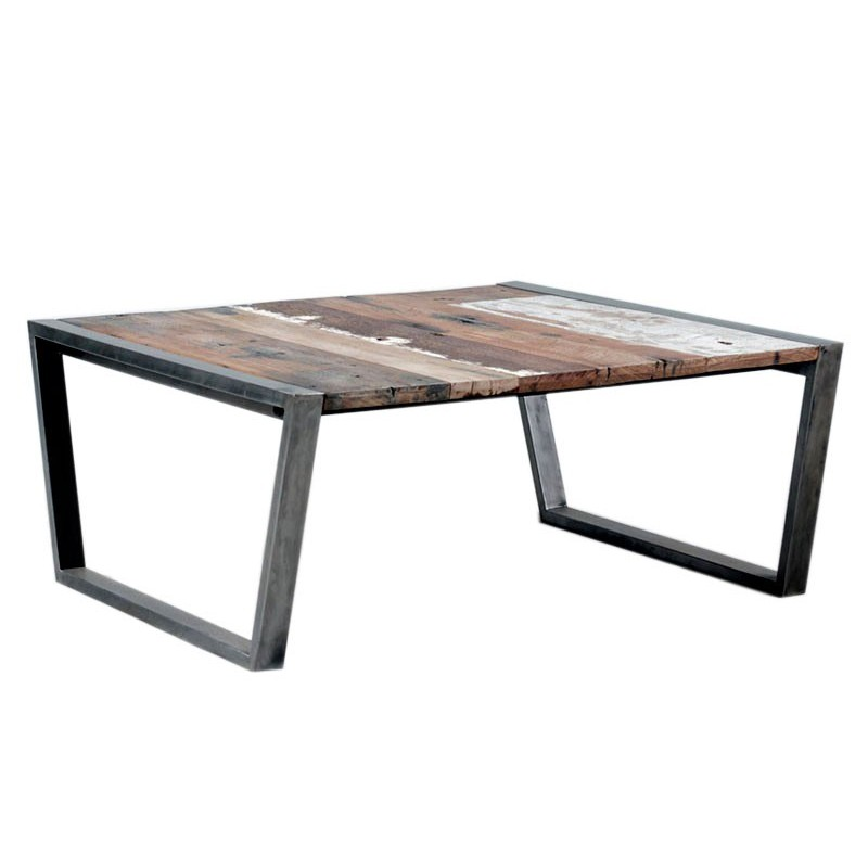 Table basse carree metal et bois for Table basse carree bois