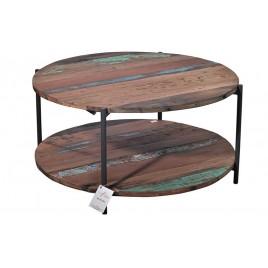 Table basse ronde BATIK bois de bateau recyclé