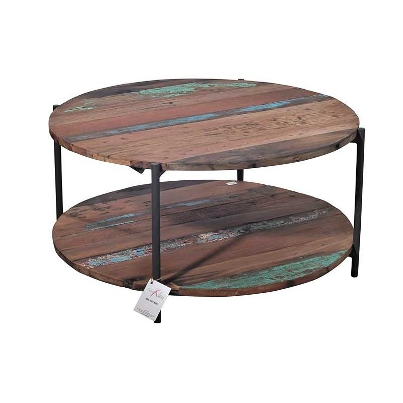 Table Basse Ronde En M Tal Et Bois De Recycl Livraison Gratuite