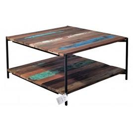 N° 1.4A59 - Table basse carrée BATIK numérotée  bois de bateau